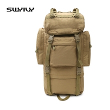 SWYIVY 70L Metal Bracket High-capacity Military Tactical Backpack Waterproof Nylon Men Backpack Outdoor Camping Camouflage Pack
