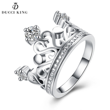 Fashion Silver Crown Haert Ring Female Girls Gold Wedding Jewelry Small Crystal Czech Drill Rings Anel For Women Party Gifts