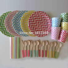 Rainbow Mix colors Chevron stripe dots Paper Plates/Cups/Cutlery/Straws Set For Birthday Christmas Event Party decoration 147pcs
