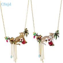 CSxjd 2017 Enameled glaze faces tropical plants Leopard and chains necklace Luxury necklace jewelry for women(China)