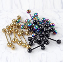 1PC Fashion Design Body Jewelry Gold Black Colorful Stainless Steel Ball Barbell Bars Tongue Piercing Jewelry Rings for Women