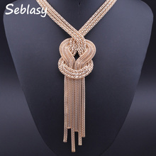 Buy Seblasy New Punk Statement Necklaces Gold Color Long Alloy Mesh Knotted Sweater Chain Choker Necklaces & Pendants Women Gift for $2.71 in AliExpress store