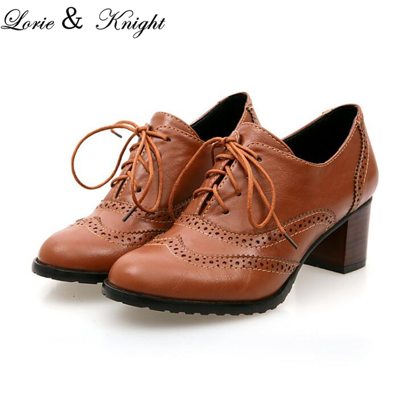 Women Lace Up Brogue Oxford Shoes British Style Medium Heel Vintage Uniform Shoes<br>