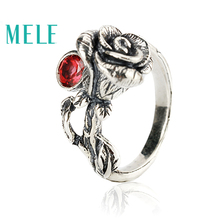 Buy Natural Chinese Classical style silver 925 jewelry.Garnet Rose retro ring women, Adjustable stereoscopic engraving,Glitterin for $47.60 in AliExpress store