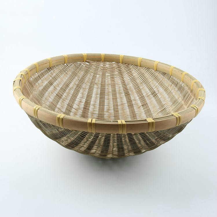 Natural Bamboo Vintage Round Storage Wicker Fruit Food Dustpan Basket Home Organization Decoration Hamper Trays(China (Mainland))