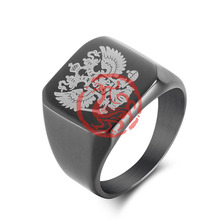 Russian Double-headed Eagle Coat Of Arms Men Ring Vintage Accessories Fashion Gold Color Titanium Stainless Steel Rings 2017 New(China)