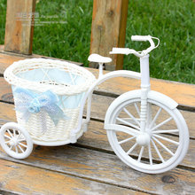 Free shipping 2pcs/lot PE storage rattan tricycle crafts vase artificial flowers basket container wedding decor dining table