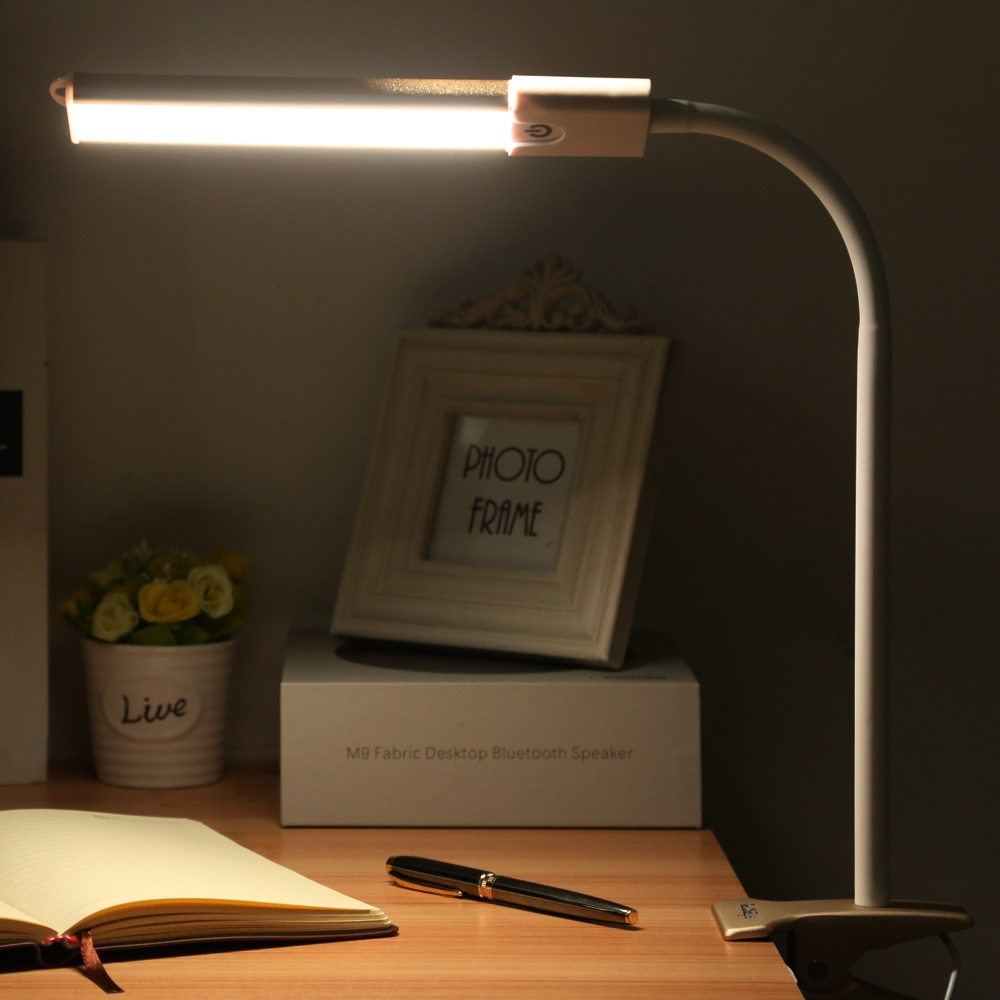 LED Desk Lamp Clip Fixtures Touch Dimmable Eye-protection Bedside Book Reading Study Office Work Table Lamp Children Night Light<br>