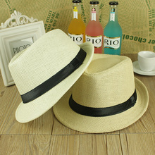 ONE SIZE ADJUSTABLE UNISEX MEN WOMEN SUMMER BEACH TRILBY STRAW PANAMA WIDE BRIM BEACH CAP ENGLISH STYLE SUN HAT(China)