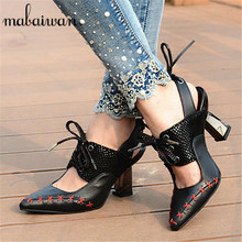 Fashion Pointed Toe Women Pumps Sexy Black Designer Sandals Lace Up High Heels Wedding Dress Shoes Woman Valentine Shoe