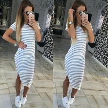 Summer Plus Size Clothes Black And White Striped Dress Side Split Casual Slim Robe Short Sleeved Street Styel Women's Dress