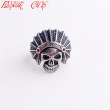 Punk 316L Stainless Steel Zircon Native American Indian Skull Shape Design Ring Giving Or Wearing Size 8-13(China)
