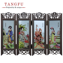 Home Decor Chinese Antique Beautiful Folding Screen Small table Ornament Vintage Glass room divider decorative partition screens(China)