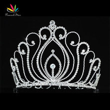 "Peacock Star Vintage Style Pageant Beauty Contest Tall 5.25"" Tiara Full Circle Round Crystal Crown CT1725(Hong Kong)"