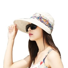 2016 Summer Hats For Women Chapeu Feminino New Fashion Outdoors Visors Cap Sun Collapsible Anti-Uv Hat 6Colors(China)