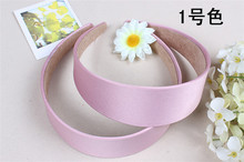 lady wide Satin covered Headband hoop Hair Band Alice Band Hairband bow  4cm
