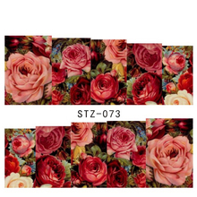 1sheets New Beauty Nail Art Stickers Red Flower Rose Decals Water Transfer Full Cover Wraps Foils Patch Decorations Tools STZ073