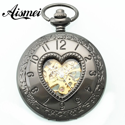 2016 black hollow heart shape dial Mechanical pocket watch retro Skeleton Pocket Watch Pendant and Chain Vintage lover style<br><br>Aliexpress