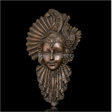 Classical Bronze Abstract Metal Wall figurines Art Sculpture Peacock Mask Statue Mural Cast Artwork Vintage Style(China)