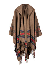 2017 Autumn Winter Stoles Women Knitted Poncho Cape Hooded Stripe Oversized Cardigan Blanket Long Shawl Scarf Cashmere Pashmina