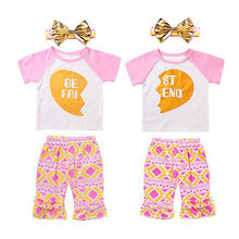 3PCS Best Friend Baby clothes set 2017 Toddler Kids Baby Girl T-shirt Tops Pants Headband Outfits