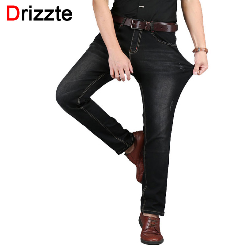 Drizzte Mens Jean Plus Size 28-48 Blue Black Denim Stretch Jeans Pants Distressed Pockets Jeans Big Large Sizes TrousersОдежда и ак�е��уары<br><br><br>Aliexpress