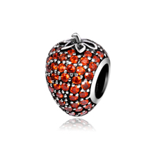 Pave Strawberry Orange CZ Charms Fits Pandora Bracelet 2016 Autumn Original 925 Sterling Silver Nature Beads DIY Jewelry Making
