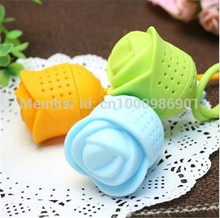 Wholesale - 100pcs/lot Cute Creative Silicone Rose Design Tea Leaf Strainer Herbal Spice Infuser Tea Filter - Color Assorted