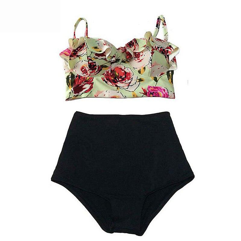 2016 New Bikinis Women Swimsuit High Waist Bathing Suit Plus Size Swimwear Push Up Bikini Set Vintage Retro Beach Wear Biquini<br><br>Aliexpress