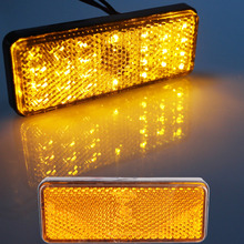 2pcs Universal LED Reflector Yellow Rear Tail Brake Stop Marker Light For SUV Truck Trailer Motorcycle Car