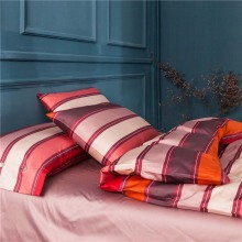 Hot fashion Quality red orange stripes 100% Egyptian cotton home hotel 4pcs duvet/comforter cover bedclothes bedding set/B3767