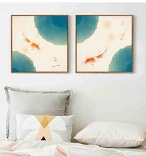 Good Symbolic Chinese Style Mediterranean Fish Art Canvas Poster wall art picture for Hotel Soft Suit Murals Decorative picture(China)