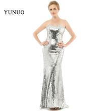 vestidos de festa New Arrival Sparkly Sequined Gown A-Line Eleagnt 2017 Sexy Long Evening Dress Silver Sweetheart x08283(China)