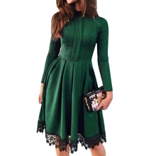 Buy Women Dress 2018 New Fashion Autumn Vintage Long Sleeve Dress Green Purple Red Party O-Neck Lace Patchwork Dresses Plus Size for $9.66 in AliExpress store