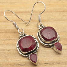 Facetted RED rubi 2 Gem Combination New Design Earrings !  Silver Plated 3.9 cm