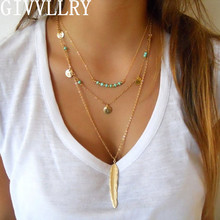 GIVVLLRY Bohemian Green Bead Chain Necklace for Women Gypsy Multilayers Gold Color Coin Feather Collar Necklaces & Pendants(China)