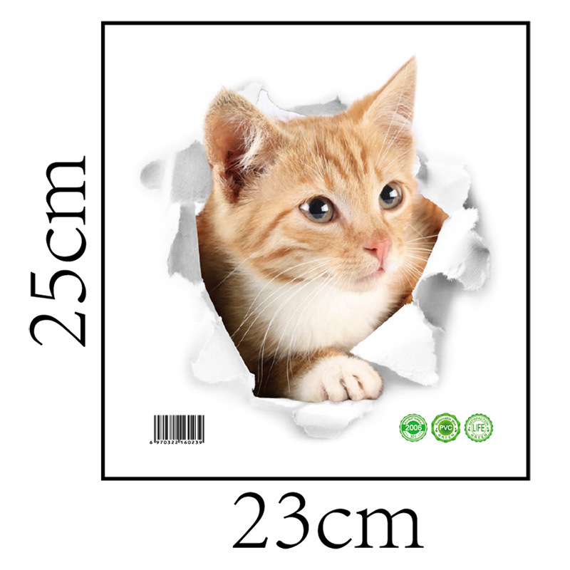 Cartoon animal 3d toilet stickers on the toilet seat cute cats PVC wall sticker bathroom refrigerator door decor stickers decals (39)