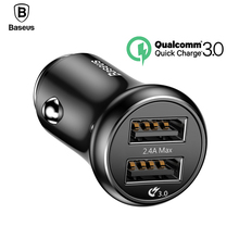Baseus Dual USB Car Charger Quick Charge 3.0 Car-charger QC3.0 Turbo Car Mobile Phone Charger iPhone X Samsung Car Charging