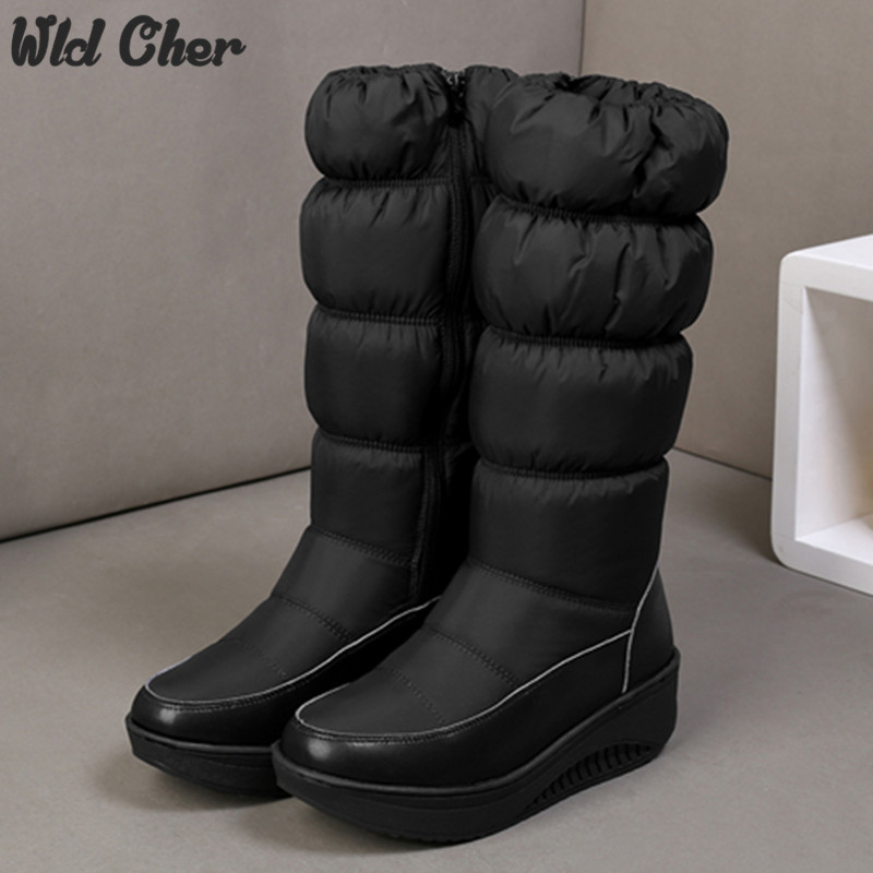 Plus size 35-44 Hot 2017 new Women Winter Boots warm Cotton Down shoes waterproof boots snow boots fur platform knee high boots<br>