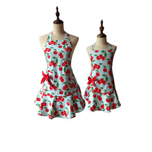 Red Floral Blue Courtney Cherry Kitchen Apron Kid Girl Woman Avental Tablier Cuisine Pinafore Apron(China)