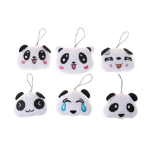 6CM Fashion Cartoon Lovely Panda Mobile Phone Pendant Big Head Panda Plush Accessories Toy Doll Gift(China)