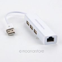 White USB 2.0 to RJ45 network LAN adapter For desktop or laptop or DSL modem Build-in 3 USB ports 100Mbps adapter