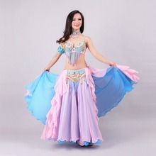 Size S-XL Performance Women Dancewear Professional 3pcs Outfit Bra Belt Skirt Long Oriental Beaded Belly Dance Costume(China)