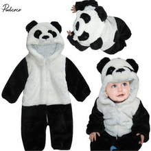 2017 New Kids Baby Rompers Animal Panda Long Sleeve Warm Winter Costume  Climbing Pajamas Romper Jumpsuit Coverall