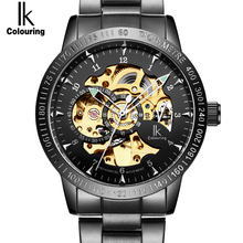 IK Golden black Luxury Watch Mens Automatic Skeleton Mechanical Wristwatches Fashion Casual Stainless Steel Relogio Masculino(China)