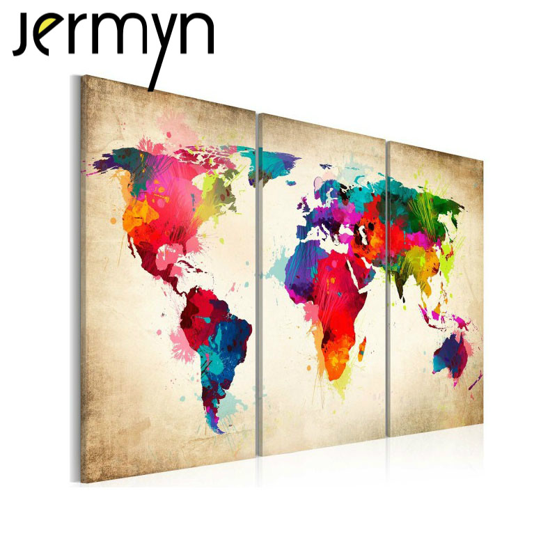 Big 3 piece Wall Art World Map oil Painting Decorative Panels Canvas Prints Poster for Living Room Home Decor Pictures Unframed(China (Mainland))