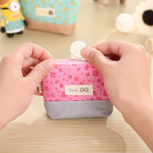 Pencil Case Purse for Coins Children's Wallet Kids Wallets Ladies Fashion Mini Canvas Floral Keys Bag Little Flower(China)