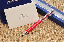 2017 New swarovski elements Crystal pen with gift box case stationery Ballpoint pen Office school wedding Crystalline roller pen(China)