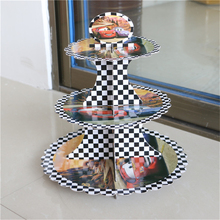 1pcs cars theme 3-tier cake stand cupcake stand cupcake holder kids birthday party supplies baby shower  favor decoration