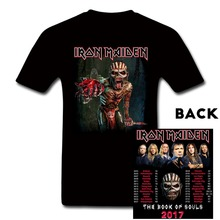 Iron Maiden 2017 Tour Book of Souls World Tour T Shirt Heavy Rock T-Shirt Custom Tee Shirt Summer Metal Cotton TShirt Men Women